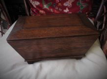 ANTIQUE OAK WOODEN BOX AND LID SARCOPHAGUS SHAPE SUPERB GRAIN & COLOUR 12.5""